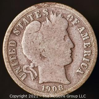 Coins: Silver Barber Dime: 1908-P