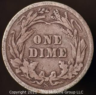 Coins: Silver Barber Dime: 1908-S