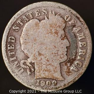 Coins: Silver Barber Dime: 1909-P