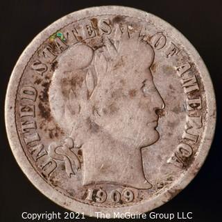 Coins: Silver Barber Dime: 1909-D