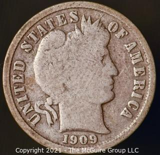 Coins: Silver Barber Dime: 1909-S