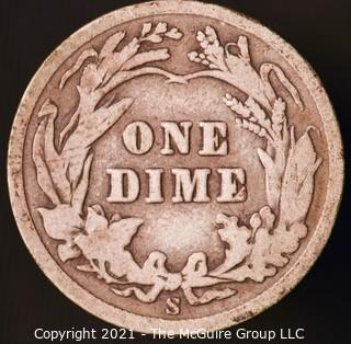 Coins: Silver Barber Dime: 1910-S