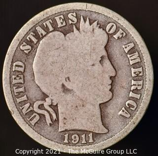 Coins: Silver Barber Dime: 1911-D