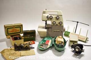 Bernette Model 234 Sewing Machine Made for Bernina; And Assortment of Singer Attachments For Singer Machines