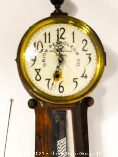 "Vintage Union Petroleum Company Banjo Style Wall Clock by E. Ingraham & Co., Bristol, Conn.  Movement not original  Measures 36"" tall."