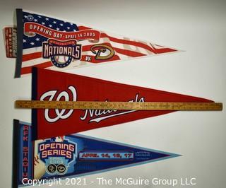 Three (3) Washington Nationals Baseball Felt Pennants Celebrating Return to RFK Stadium.  One with stitched Logo.