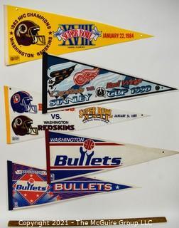 Vintage Washington DC Sports Teams Felt Pennants.  Includes Washington Bullets, Washington Capitals and The Redskins 1984 Super Bowl XVIII & 1988 Super Bowl XXII Titles.