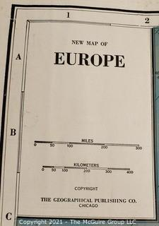 """Vintage Double Sided Color Lithograph on Paper Wall Map of Europe and the World.  Undated but Franklin Roosevelt is President, WWII.  Measures 28"""" x 36""""."""