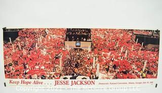 "Jesse Jackson 1988 Democratic National Convention Atlanta Georgia Poster ""Keep Hope Alive"".  Measures 36"" 15""."