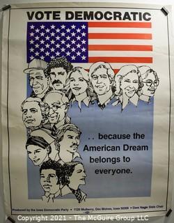 "Iowa Democratic Party Poster ""Vote Democratic"".  Measures 18"" x 22"""