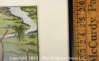 "Three (3) Framed Under Glass Vintage Illustrations from Children's Books. Measures 10"" x 30"""