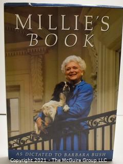 """Signed Hardcover 1st Edition """"Millies Book"""" by Barbara Bush,  1990.  White House President"""