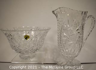 Two (2) Pieces of Clear Crystal, Bowl has Waterford Sticker