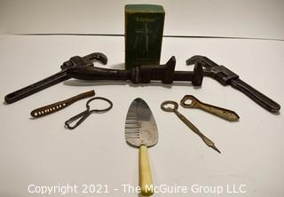 Tool Collection including Monkey Wrenches; Bar Items; Rasp; etc.