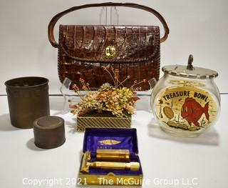 Eclectic Group.  Includes Vintage Gold Gillette Aristocrat Safety Razon in Box, Gold Enamel Painted Flowers by Gloria Vanderbilt, Two (2) Metal Tins & Treasure Bowl Goldfish Bank.