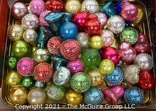 """Group of Vintage Glass Tree Christmas Ornaments in Boxes, """"Shiny Brite""""."""