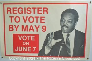 "1988 Jesse Jackson ""Register To Vote"" Political Campaign Poster. Measures 17"" x 22""."
