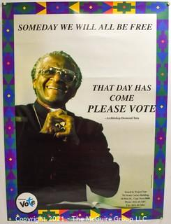 """1994 South African Voter Registration Poster Featuring Archbishop Desmond Tutu """"Someday We Will All Be Free - That Day Has Come"""".  Tear on bottom. Measures 18.5"""" x 25"""""""