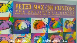 """Peter Max, 100 Clinton's (Bill Clinton), Poster, The President's Dinner, Democratic National Convention (DNC) June 28, 1993. Measures 27"""" x 36""""."""