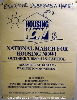 """1989 March For Housing Political Poster.  Measures 17"""" x 22"""""""