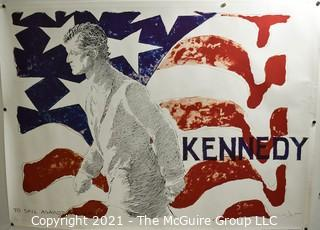 """Vintage Political Campaign Poster by Jamie Wyeth, Ted """"Kennedy/To Sail Against The Wind"""" 1980 Poster For President; Measures 23""""x 31"""""""