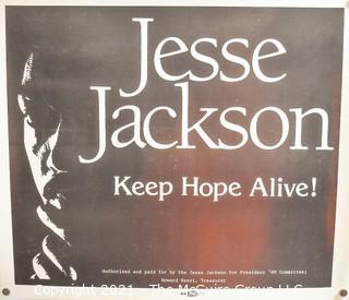 "1988 Jesse Jackson ""Keep Hope Alive"" Political Campaign Poster, Measures 12"" x 14"""