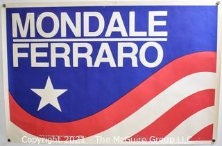 "1984 Presidential Campaign Poster for Mondale/Ferraro. Measures 15"" x 22.5"""