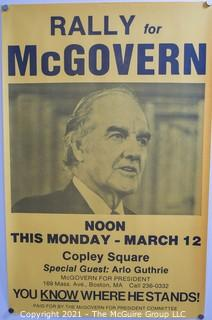 """Vintage 1972 McGovern For President Political Campaign Rally Poster Boston, Copley Square. Measures 11"""" x 17"""""""