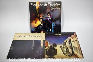 (3) Vinyl LP Records Classic Rock Titles including Prince, Sweet & The Alpha Band