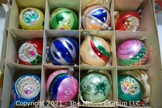 Five (5) Boxes of Vintage Glass Tree Christmas Ornaments.