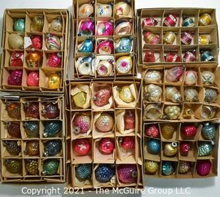 Seven (7) Boxes of Vintage Glass Tree Christmas Ornaments.