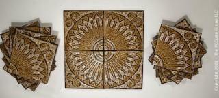 "Vintage Set of 15 Mid Century Modern Textured Sunburst Pattenr Ceramic Tiles, Made in Italy. Measures 8"" square."