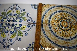 """Two (2) Sets of Hand Painted Italian Floor Tiles.  Each measure  8"""" Square."""