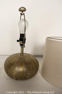 Contemporary Silver Tone Table Lamp in Shape of Sea Urchin