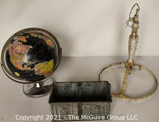 Group of Vintage Items Including Replogle World Globe, Metal Tin Tray & Cast Iron Ceiling Mount Chandelier Frame