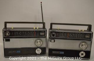 Vintage Transistor Radio Two (2) SONY TFM-1000WB  Black Cases