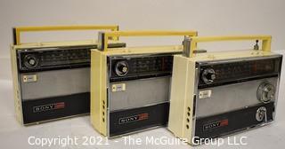 Vintage Transistor Radio Three (3) SONY TFM-1000WB  White Cases