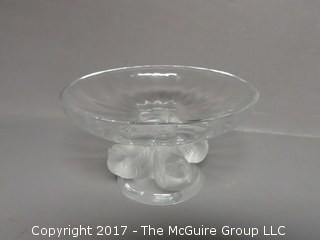 "Lalique France Crystal Nogent Sparrow Bird Frosted Pedestal Compote Bowl; signed; 4 1/2"" diameter at rim"