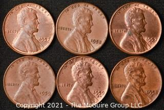 Coins: (6) Lincoln Wheat /Memorial Cents: 1957-59