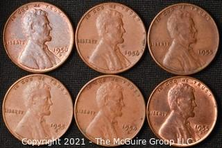 Coins: (6) Lincoln Wheat Cents: 1955-56