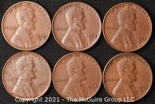 Coins: (6) Lincoln Wheat Cents: 1952-54