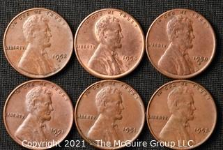 Coins: (6) Lincoln Wheat Cents: 1950-52