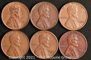 Coins: (6) Lincoln Wheat Cents: 1948-1950