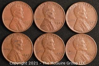 Coins: (6) Lincoln Wheat Cents: 1946-47