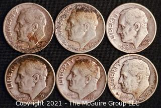 Coins: Six Silver Roosevelt Dimes 1949-51 (P-D-S)