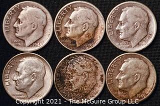 Coins: Six Silver Roosevelt Dimes 1947-49 (P-D-S)