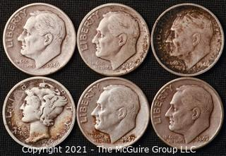 Coins: Six Silver Dimes; 1-Mercury and 5-Roosevelt; 1945-47 (P-D-S)