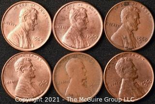 Coins: (6) Lincoln Cents: including  1909-P; (2) 1960-D (LD); 1969-P-D-S