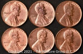 Coins: (6) Lincoln Memorial Cents: 1962-64