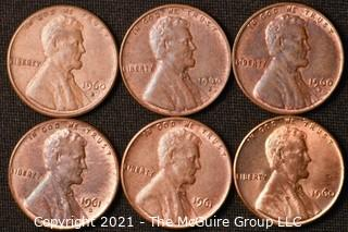 Coins: (6) Lincoln Memorial Cents: 1960-61
